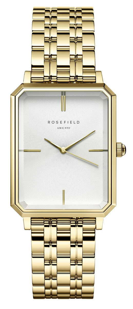 ROSEFIELD The Elles White Sunray Steel Gold 22mm OCWSG-O40